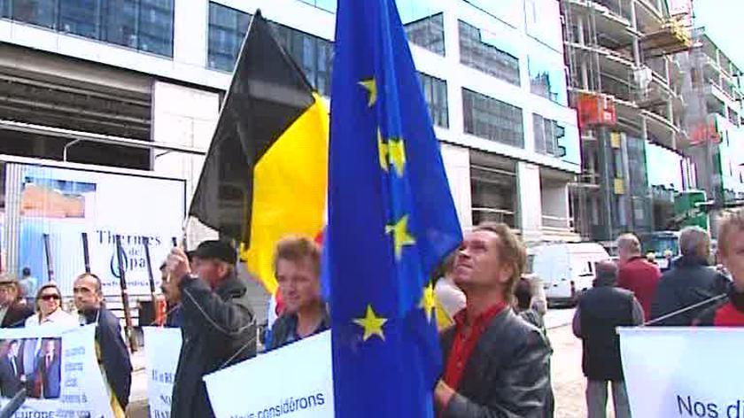 Prorosyjska manifestacja w Brukseli (TVN24)