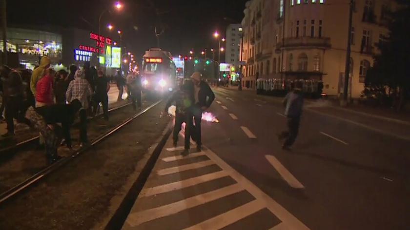 Zamieszki w Sosnowcu. W stronę policjantów poleciały kamienie