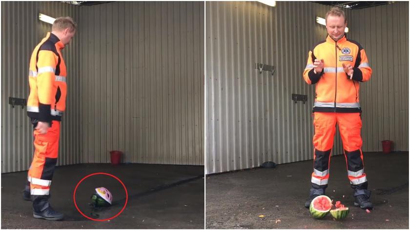 Eksperyment szczecińskich ratowników pokazuje, jak ważne jest noszenie kasku