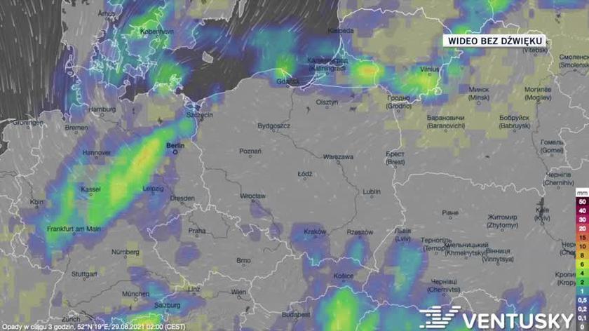Prognozowane opady w ciągu kolejnych dni