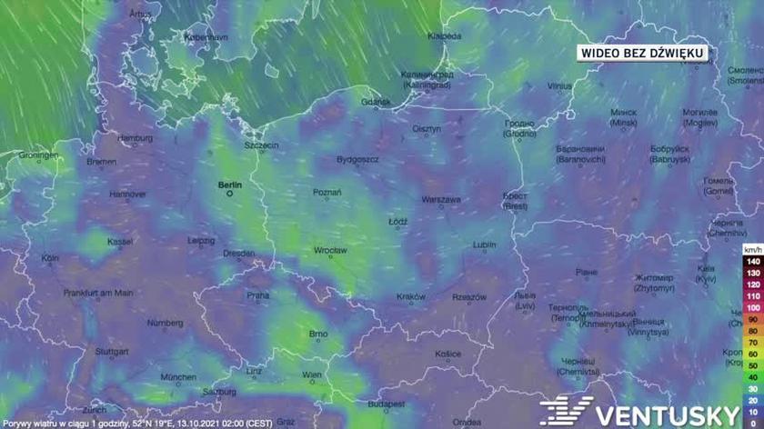 Prognozowane porywy wiatru w ciągu kolejnych dni