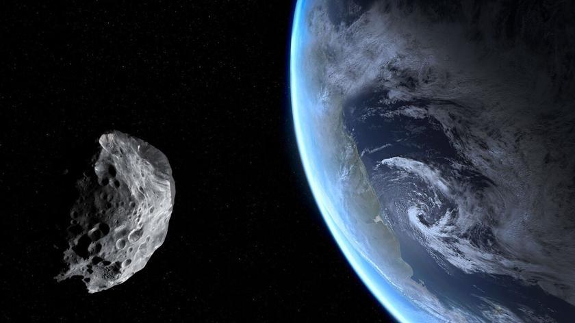 Wizualizacja przelotu asteroidy Apophis obok Ziemi 13 kwietnia 2029 (NASA/JPL-Caltech)