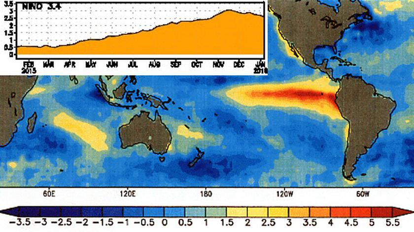 El Nino od 21 października 2015 do 6 stycznia 2016