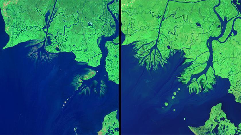 Zmiana delty Mississippi od 1984 do 2014 roku