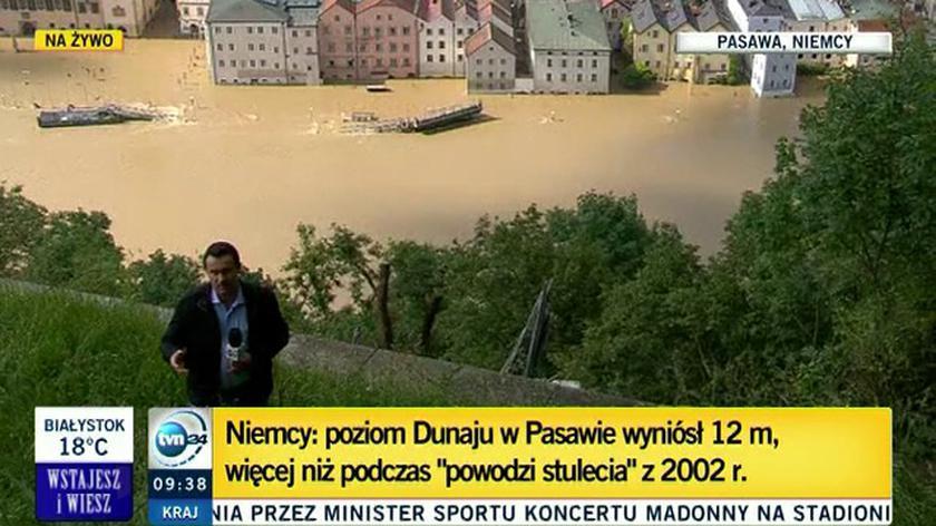 Część Pasawy wciąż pod wodą (TVN24)