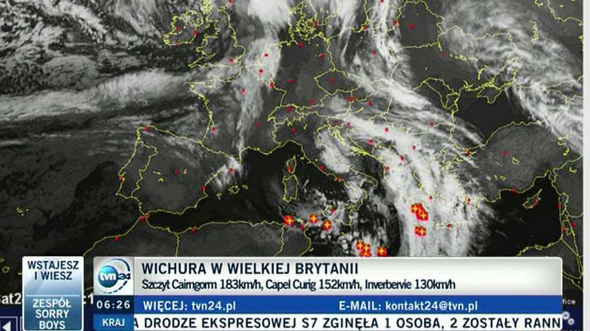Kolejne wichury na Wyspach. Wiatr do 180 km/h