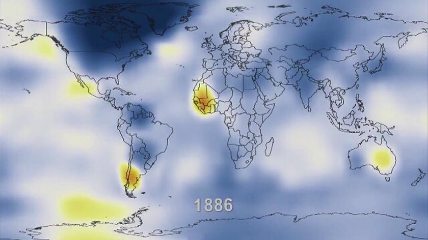 Odchylenie od średniej temperatury powietrza od 1880 do 2011 roku