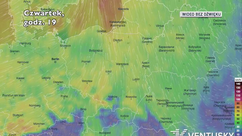 Prognozowane porywy wiatru w czwartek (Ventusky)
