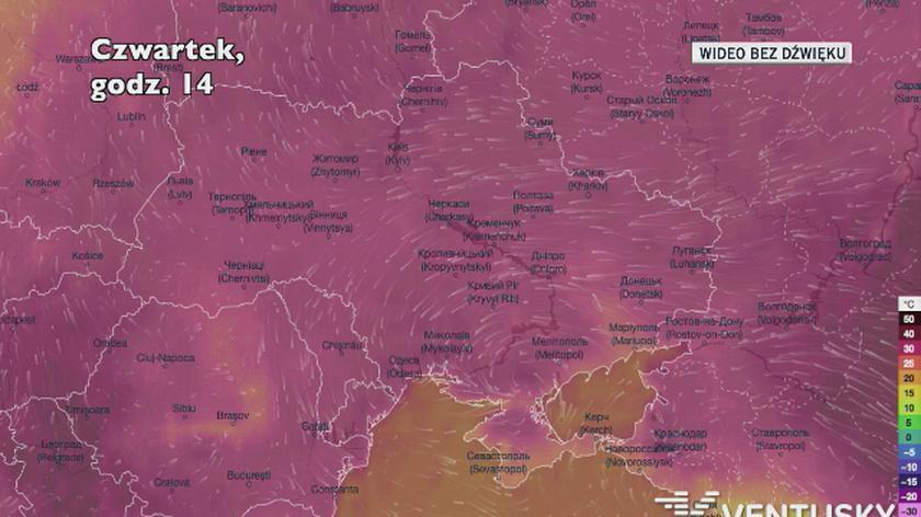 Temperatura w czwartek na Ukrainie (Ventusky.com)