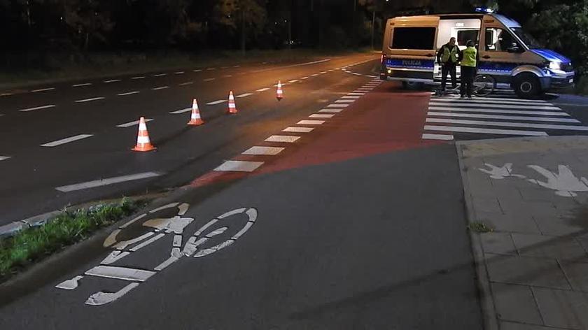 Potrącenie rowerzysty w Wawrze