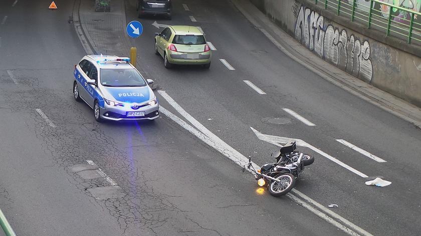 Wypadek z udziałem motocyklisty na Globusowej