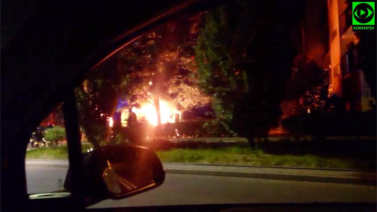 Nocny pożar na Ochocie