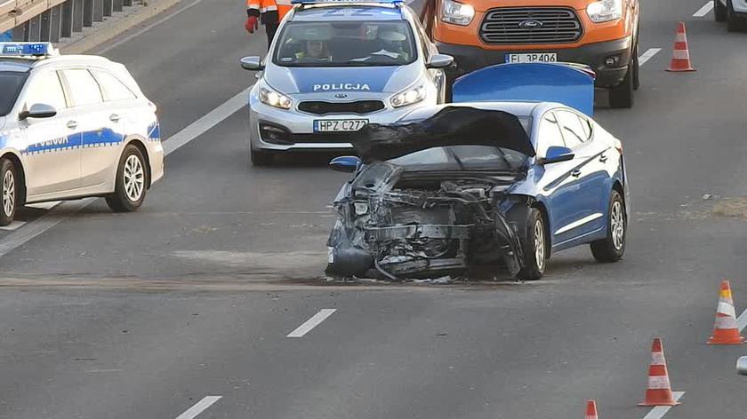 Zderzenie trzech aut na S8 koło Raszyna