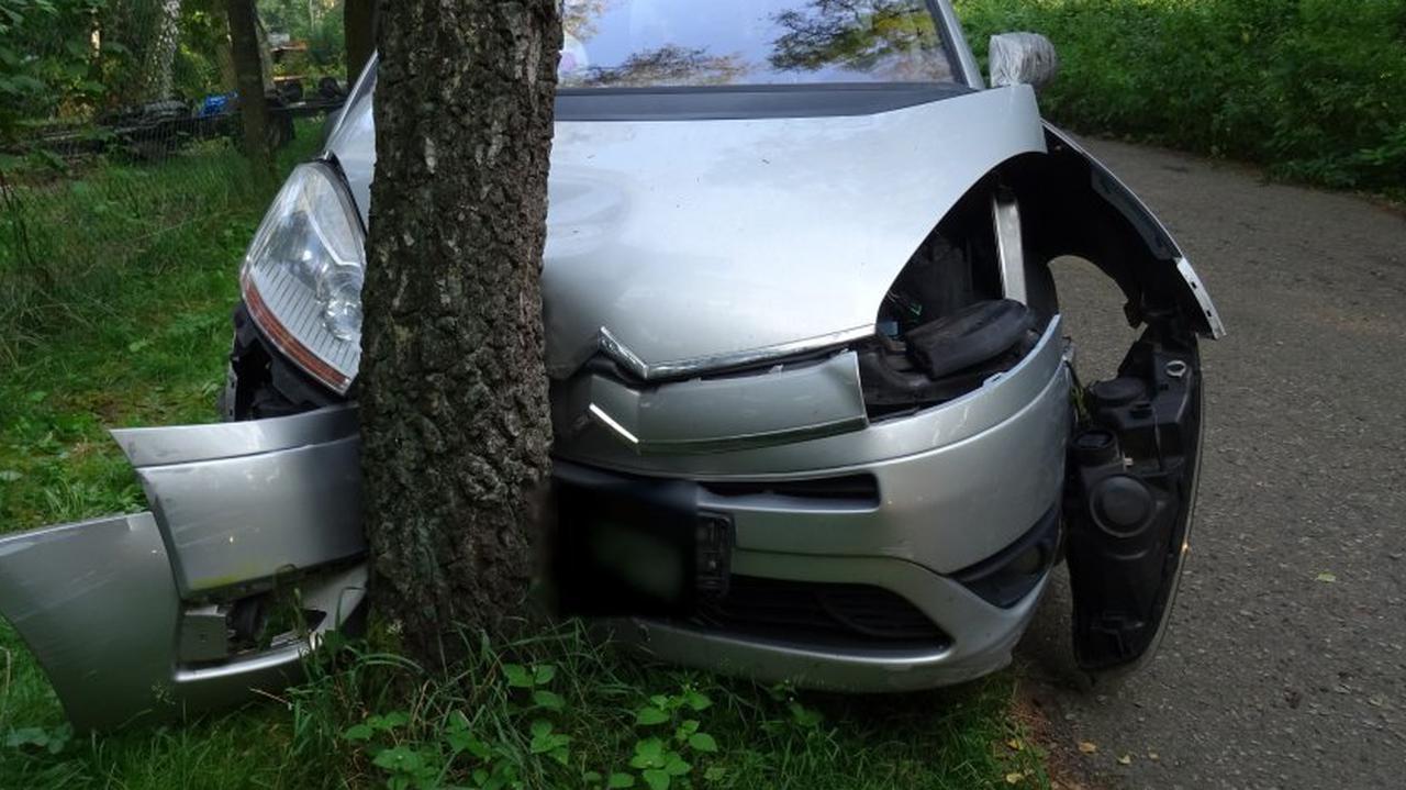 Wiozła czwórkę dzieci, uderzyła w drzewo.
